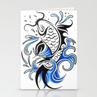 koi fish Stationery Cards featuring Koi Fish  by JonathanStephenHarris