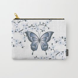Grayish Blue Butterfly And Cherry Blossom Carry-All Pouch