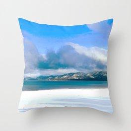 Frozen Snowy Lake Throw Pillow