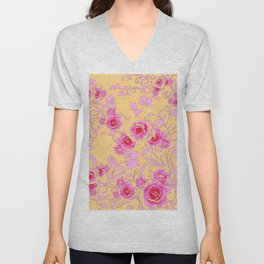 PINK-RED ROSE ABSTRACT FLORAL GARDEN ART Unisex V-Neck