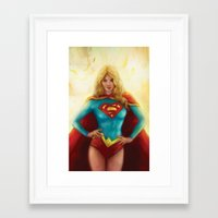 supergirl Framed Art Prints featuring Supergirl by SachsIllustration