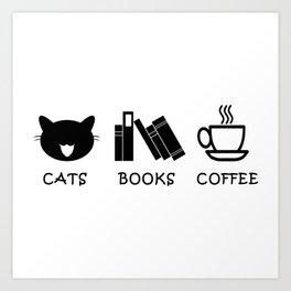 Cats Books Coffee Art Print