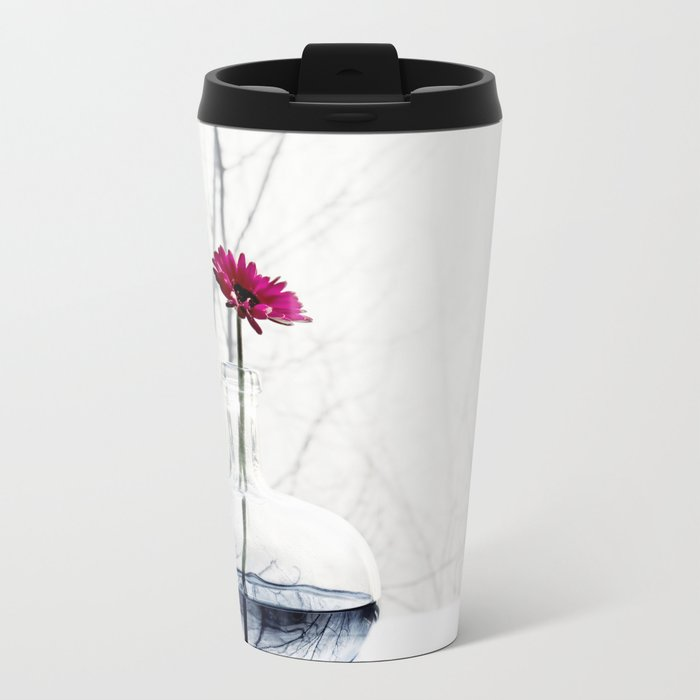 red flower Metal Travel Mug