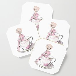 Girl in floral cup of tea Coaster