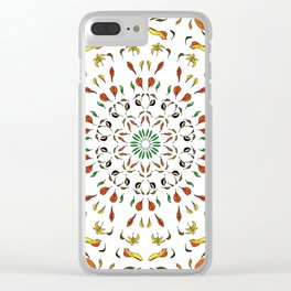 autumn leaves yellow brown red green mandala Clear iPhone Case