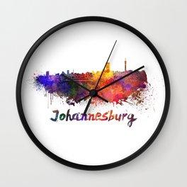 Johannesburg skyline in watercolor Wall Clock