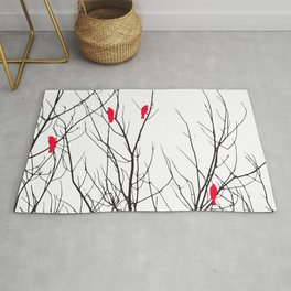 Artistic Bright Red Birds on Tree Branches Rug