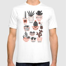 Mid-Century Modern Cacti  White Mens Fitted Tee LARGE