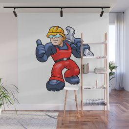 Cartoon plumber holding a big wrench. Wall Mural