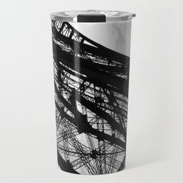 Eiffel Tower Base Detail in Black and White Travel Mug