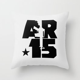 AR-15 (Silver/Black) Throw Pillow