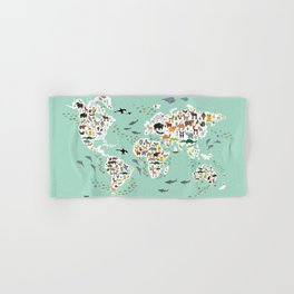 Cartoon animal world map for children, kids, Animals from all over the world, back to school, mint Hand & Bath Towel