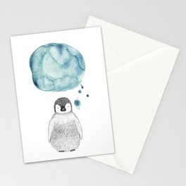 Dreaming Penguin - Blue Watercolor Stationery Cards