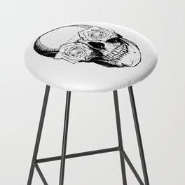 Skull and Roses | Black and White Bar Stool