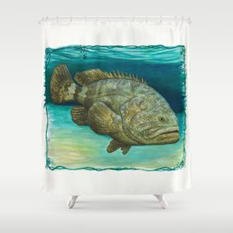 """Goliath Grouper"" by Amber Marine ~ Watercolor Painting, (Copyright 2015) Shower Curtain"
