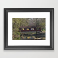 Covered bridge at Shady Side in Anderson, IN. Framed Art Print