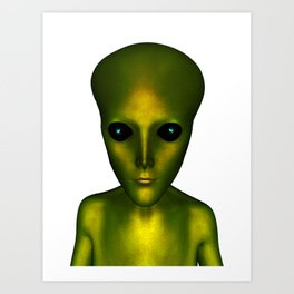 Alien Head and Shoulders Green Scaled Creature Art Print
