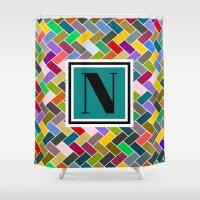 monogram Shower Curtains featuring N Monogram  by mailboxdisco