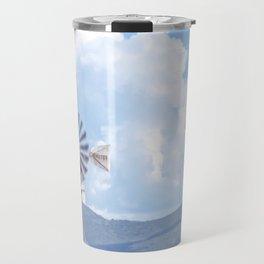 """Blue Windmill Blue Sky"" by Murray Bolesta Travel Mug"