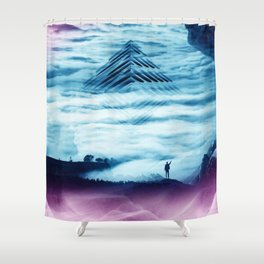 Pyramid Teal Shower Curtain