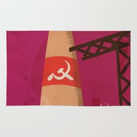 soviet Area & Throw Rugs featuring USSR Soviet Space Rocket Vintage Travel Poster by Nick's Emporium