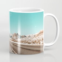 Vintage Desert Road // Winter in the Mojave of Las Vegas at Red Rock Canyon National Park Coffee Mug