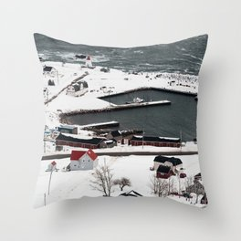 Winter in Neil's Harbour Throw Pillow