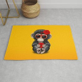 Red and Yellow Day of the Dead Sugar Skull Baby Chimp Rug