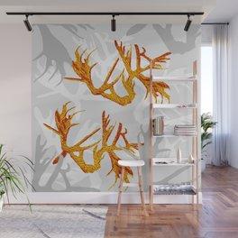 Horns Golden Pattern Wall Mural