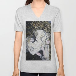 Oil paint on canvas painting of a woman behind a blank mask with a pained eye Unisex V-Neck