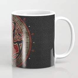 The hammer of Thor Black Red Leather and gold Coffee Mug