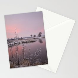 Winter Sunset At River Bank Stationery Cards