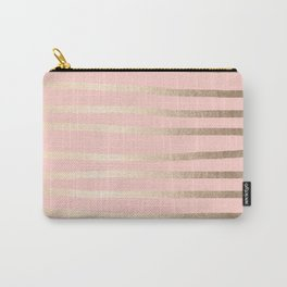 Abstract Drawn Stripes Gold Coral Light Pink Carry-All Pouch