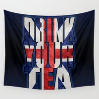 british Wall Tapestries featuring Tea / British by tshirtsz