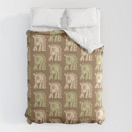 Mid Century Horse Pattern Brown Sage and Beige Comforters