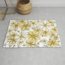 Gold and Cream Summer Floral Pattern Rug