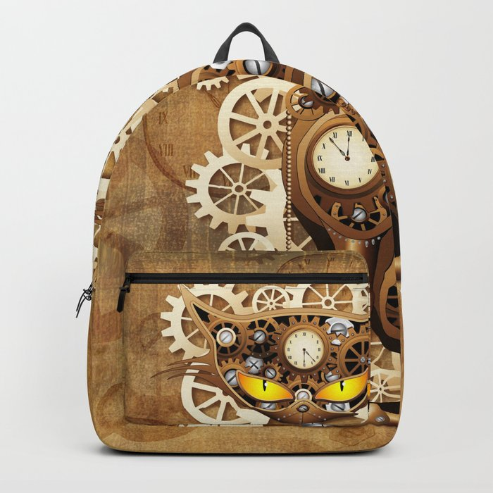 Steampunk Cat Vintage Style Backpack
