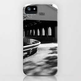 Covered Bridge in Black and White iPhone Case