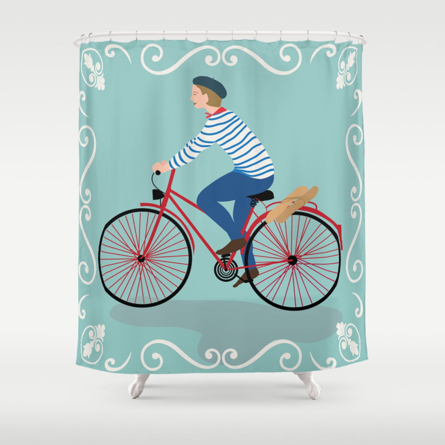 Vintage Style Frenchman On A Bicycle With Baguette Art Print Shower Curtain