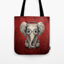 Cute Baby Elephant Dj Wearing Headphones and Glasses on Red Tote Bag
