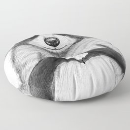 raccoon with heart Floor Pillow