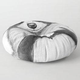 raccoon with heart Floor Pillow