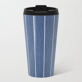 Denim Blue with White Pinstripes Travel Mug