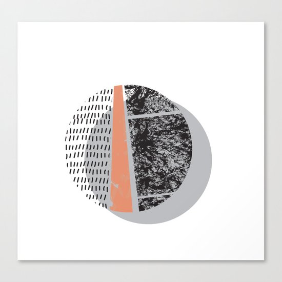 Abstract circles in peach and black Canvas Print