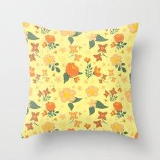 Flower blossom yellow orange pattern Throw Pillow