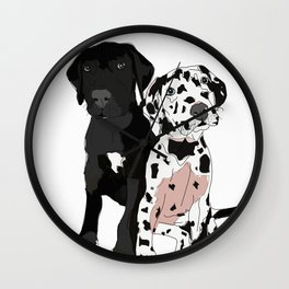 Great Dane Puppy Dogs: Olive & Oden Wall Clock