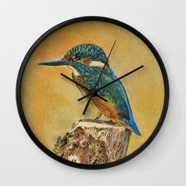 Blue Kingfisher art. Wall Clock