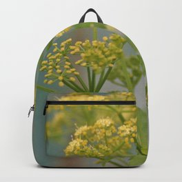 Yellow wildflowers on blue rusty metal Backpack