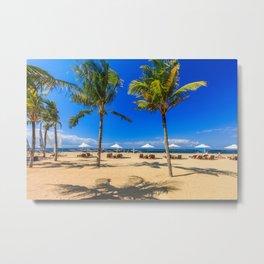 Sunbeds and palm trees on the beach, Sanur, Bali, Indonesia Metal Print