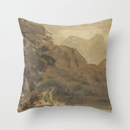 A-mountainous-landscape-with-a-seated-figure by Joshua Cristall Throw Pillow